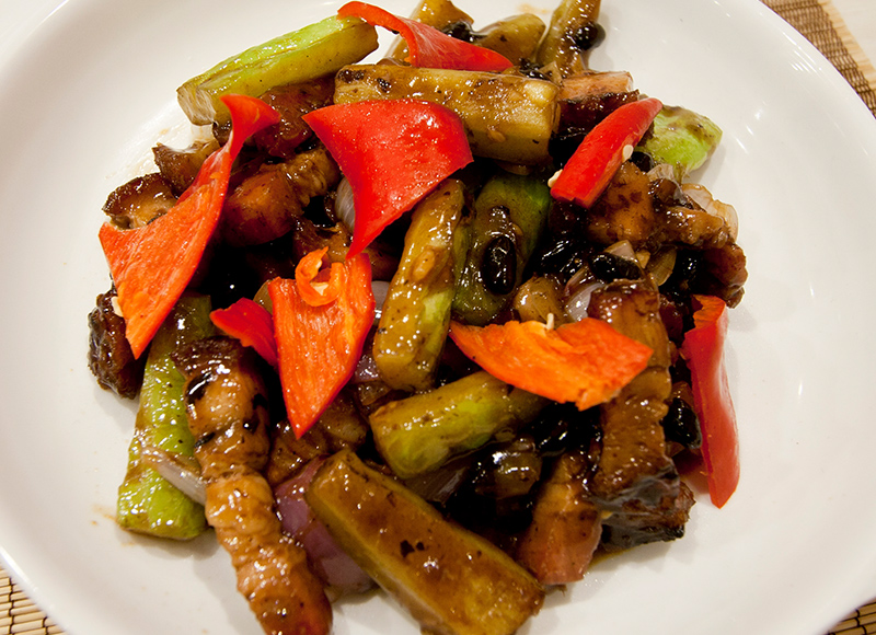 Stir Fried Bitter Gourd with Roasted Pork